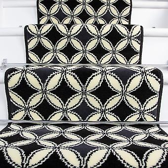 70cm Width - Contemporary Black Geometric Stair Carpet