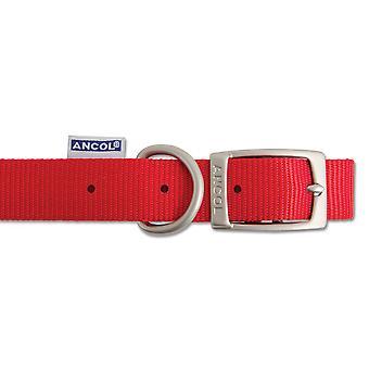Heritage Nylon Collar Red 15mm X28-36cm Sz3