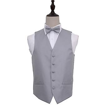 Silver Greek Key Patterned Wedding Waistcoat & Bow Tie Set