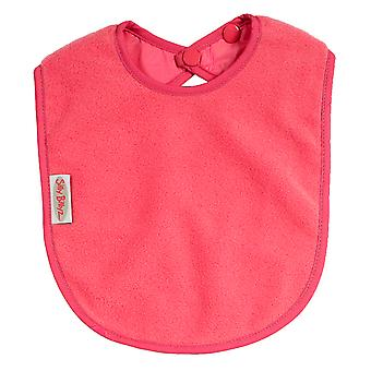 Silly Billyz Plain Large Fleece Feeding Bib with Snap Button Closure in Cerise Pink