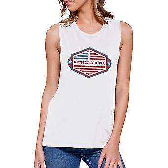 Respektera USA Kvinnors vit roliga ärmlös 4 juli linne