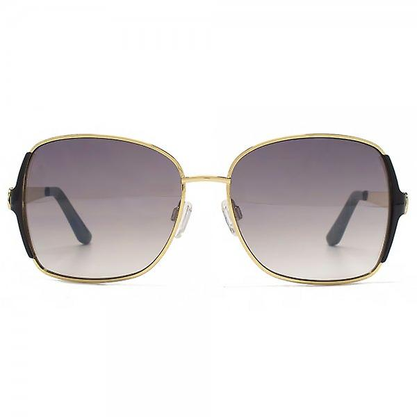 Kurt Geiger Catherine Enamel Metal Square Sunglasses In Matte Gold Brown