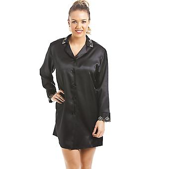 Camille Luxury Black Satin Nightshirt