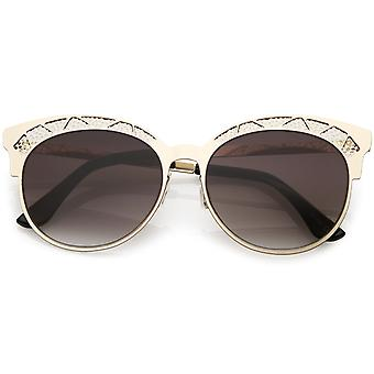 Perforated Metal Cat Eye Sunglasses Gradient Neutral Color Round Flat Lens 51mm