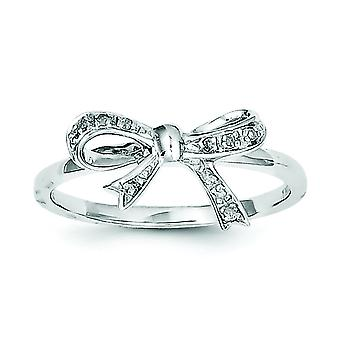 Sterling Silver Polished Rhodium-plated Rhodium Plated Diamond Bow Ring - Ring Size: 6 to 8