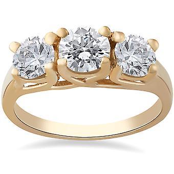 3 1/2ct 3-Stone Engagement Ring 14k Yellow Gold