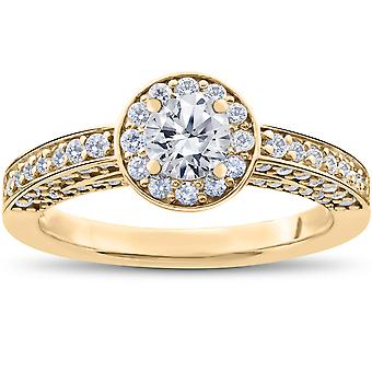 1 ct Diamond Halo Solitaire Engagement Ring 14k Yellow Gold
