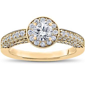 1 ct diamant Halo Solitaire förlovningsring 14k gult guld