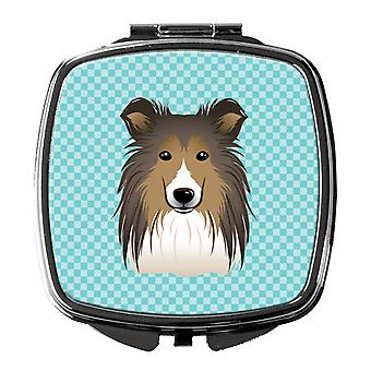 Carolines Treasures  BB1180SCM Checkerboard Blue Sheltie Compact Mirror