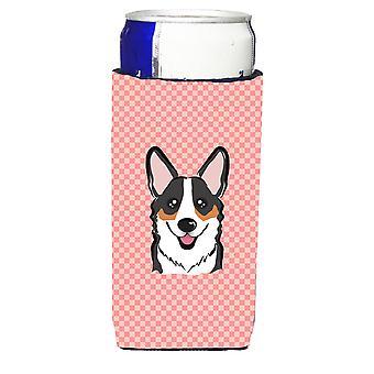 Checkerboard Pink Corgi Ultra Beverage Insulators for slim cans