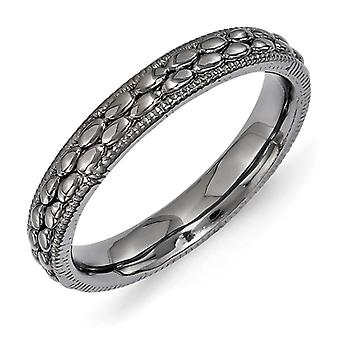 3.5mm Sterling Silver Stackable Expressions Ruthenium-plated Patterned Ring - Ring Size: 5 to 10