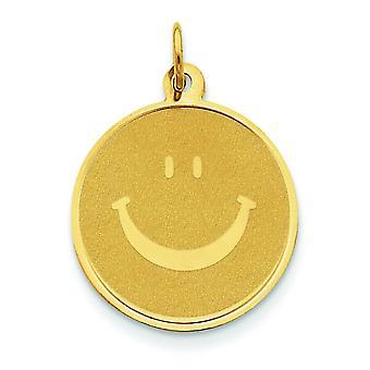 14k Yellow Gold solido lucido Smiley Face per ragazzi o ragazze ciondolo - misure 26.3x19.3mm