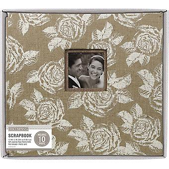 K&Company Burlap Post Bound Window Album 12
