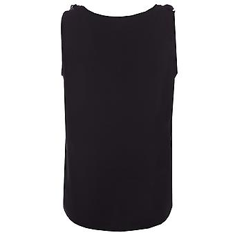 Womens Jaquenline De Yong Pinar Frill Top In Black- Sleeveless