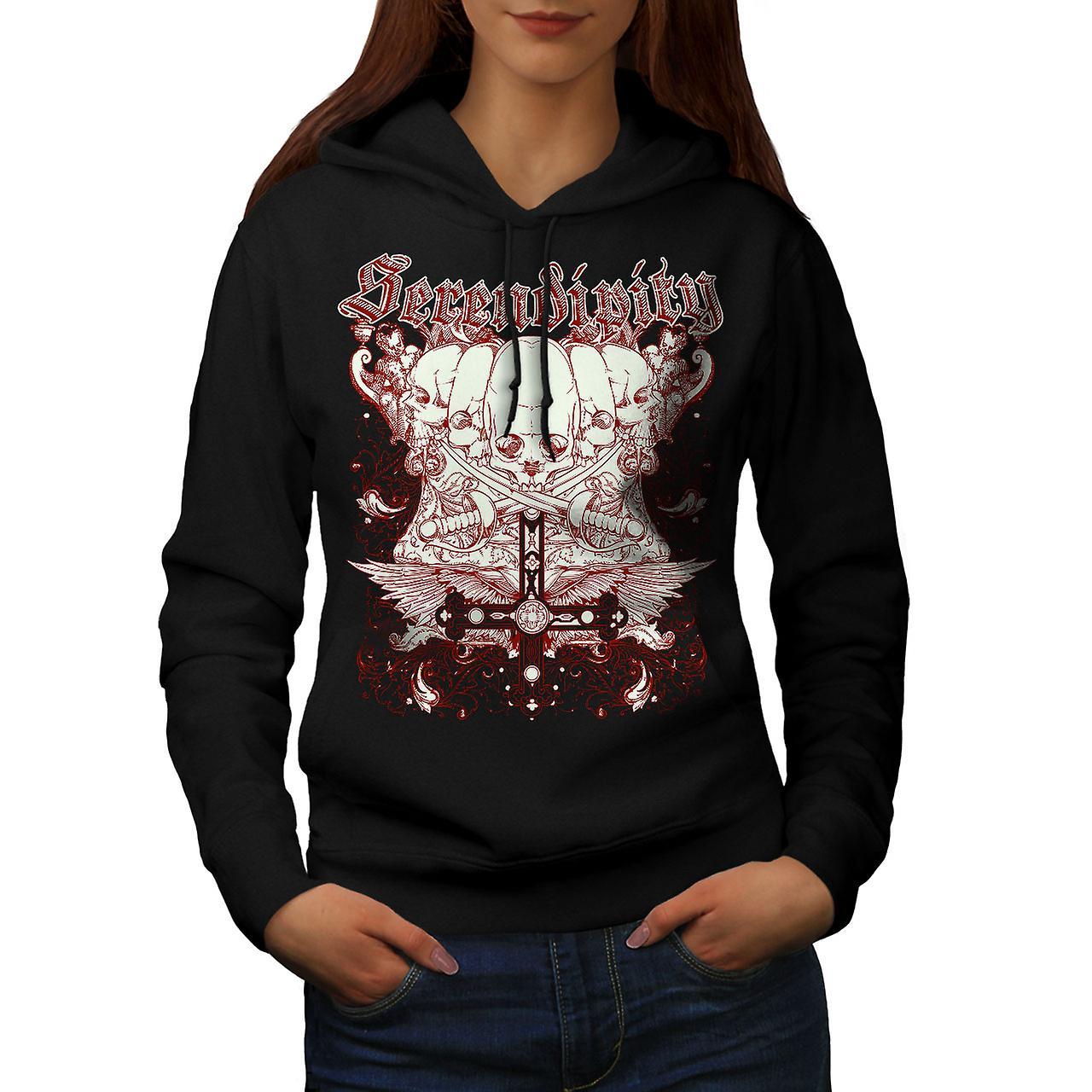Sword Death Skull Women Black Hoodie | Wellcoda