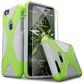 SaharaCase® iPhone 6/6s plata verde caja, X-Case protector Kit paquete con ZeroDamage® vidrio templado