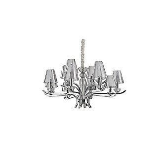 Ideal Lux - Event Chrome And Glass Twelve Light Chandelier With Smokey Glass Shades Idl115832