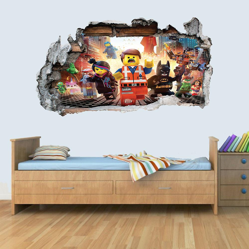 GNG 3D Lego Movie Kids Smashed Wall Sticker Boys Girls Bedroom Decal Vinyl Wall Art