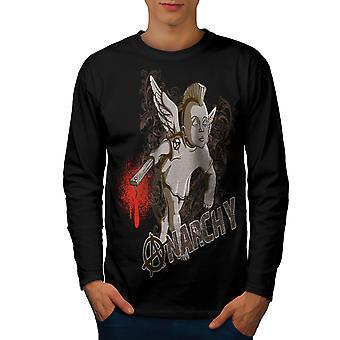 Anarchie Punk Angel Männer BlackLong Sleeve T-shirt | Wellcoda