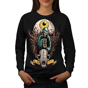 Augen-Totenkopf Horror Fantasy Frauen BlackSweatshirt | Wellcoda