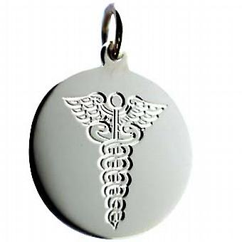 Silver 20mm round hand engraved medical alarm Disc