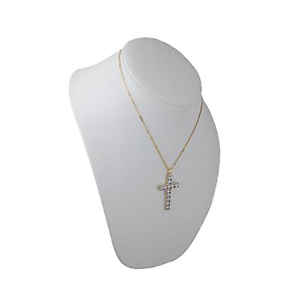 9ct Gold 45x29mm Apostle's Cross set with 12 Cubic Zirconia with a curb Chain 18 inches