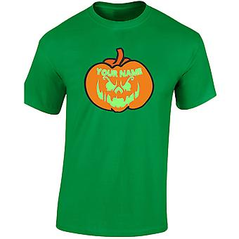 Grinning Jack Your Text Pumpkin Halloween Glow In The Dark Mens T-Shirt 10 Colours (S-3XL) by swagwear