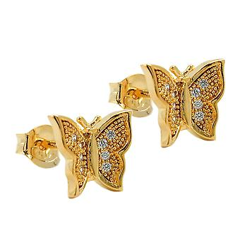 Stud earrings with zirconia butterfly 3 micron gold plating