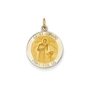 parte posterior 14 k amarillo oro sólido Engravable pulido pulido y satinado Saint Gerard medalla colgante - medidas 18.7x23.9mm