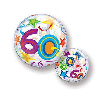 Ballon Bubble Kugel Zahl 60 Geburtstag für Helium und Luft  circa 55cm Ballon