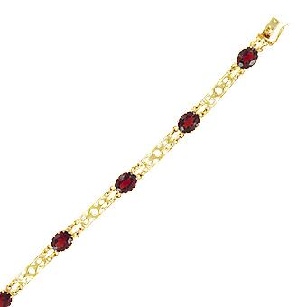 Ladies Shipton And Co Exclusive 9ct Yellow Gold And Garnet Bracelet AY1633GR
