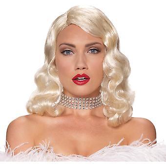 Femme Fatale 1920s 1930s 1940s Flapper Pin Up Blonde Women Costume Wig