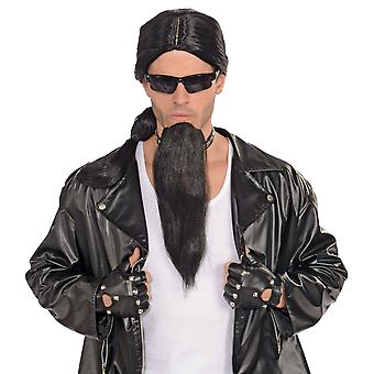 Bad Biker Gangster 1980s Men Costume Black Goatee