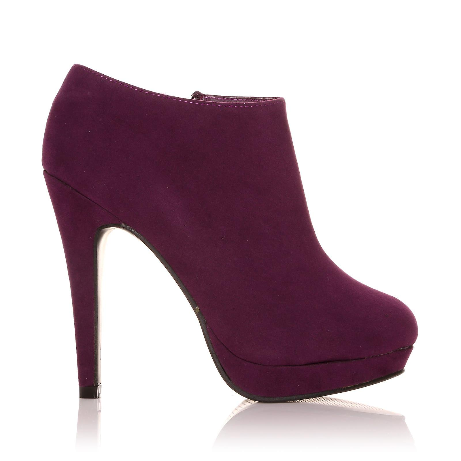H20 Purple Faux Suede Ankle Stilleto Very High Heel Ankle Suede Shoe Boots cc486f