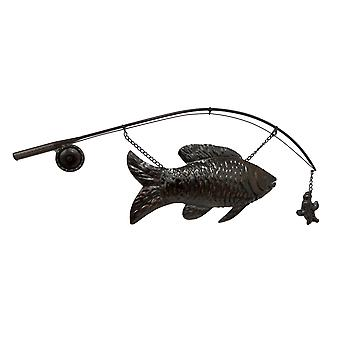 Large Metal `Catch of the Day` Fish and Pole Decorative Wall Sculpture