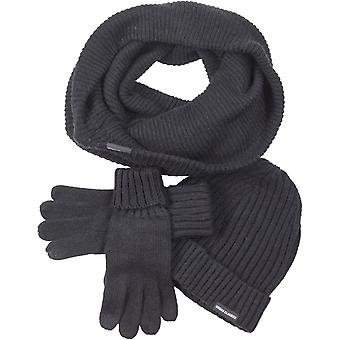 Urban classics - WINTER SET-Hat scarf Gloves black