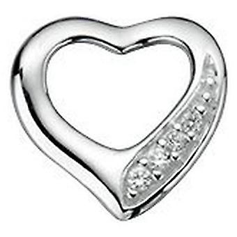 Beginnings Cubic Zirconia Cut Out Heart Pave Pendant - Silver/Clear