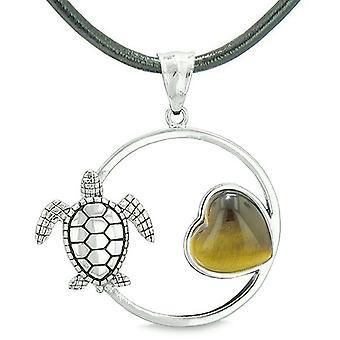 Amulett niedlich Meeresschildkröte magischen Zirkel Herz Medaillon positiven Kräfte Tiger Eye Leder Halskette