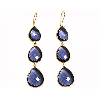 Gemshine - CANDY - Iolite - blue - gold plated ladies - earrings - 925 Silver - - drop - 9 cm