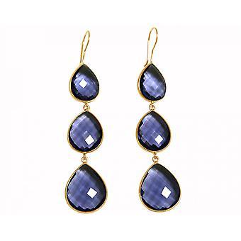 Gemshine - Damen - Ohrringe - 925 Silber - Vergoldet - Iolith - Blau - CANDY - Tropfen - 9 cm