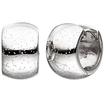 Hoops wide around 925 Sterling Silver earrings with glitter effect kitchen