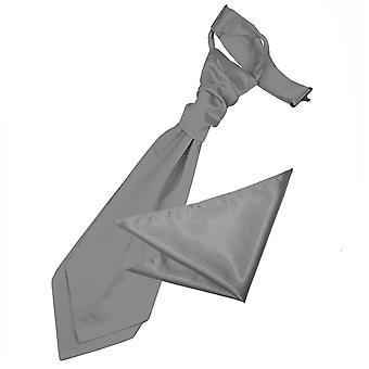 Platinum Plain Satin Wedding Cravat & Pocket Square Set for Boys