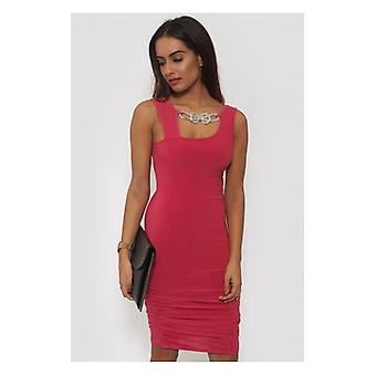 The Fashion Bible Pink Embellished Bodycon Dress