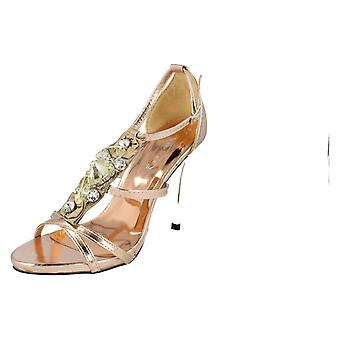 Ladies Spot On Classy Heels F1768 UK 7 (PINK&GOLD)