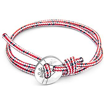 Anchor and Crew Lerwick Silver and Rope Bracelet - Red Dash