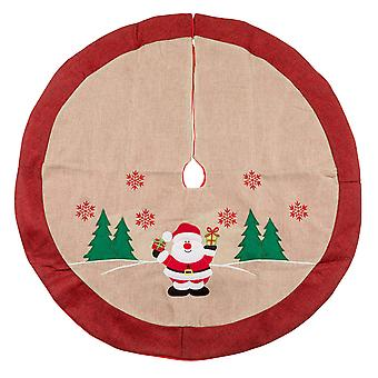 TRIXES 91cm Hessian Red White and Green Christmas Tree Skirt Decorative Cover