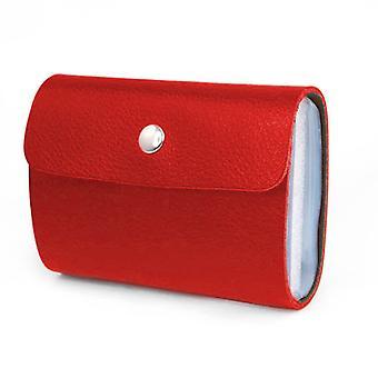 TRIXES weichen roten Kunstleder Credit Card Holder Wallet mit 26 klare Ärmeln