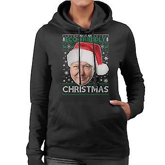 David Attenborough Have An Eco Friendly Christmas Knit Women's Hooded Sweatshirt
