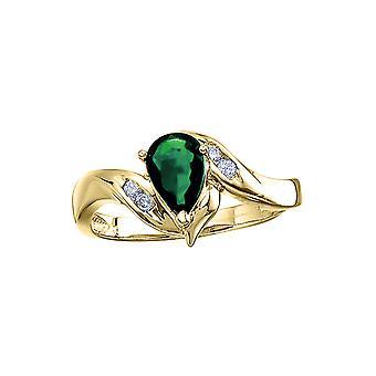 14 k geel gouden peer Emerald en Diamond Swirl Ring