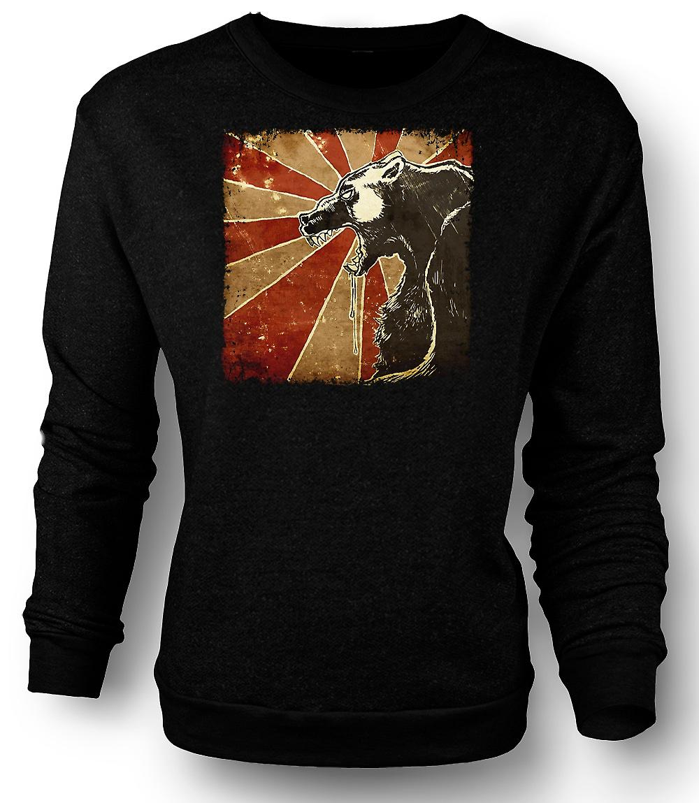 Mens Sweatshirt russischen Bären - Cool Retro Poster